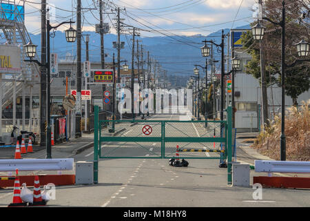 (16, January, 2016. Namie, Fukushima, Japan) A main street of Namie Town in front of the Town center. The entire - Stock Photo
