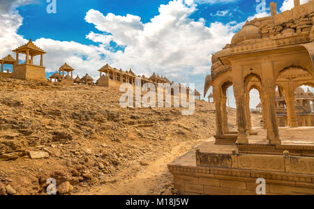 Historic royal cenotaphs known as Chhatris at Bada Bagh Jaisalmer Rajasthan. - Stock Photo