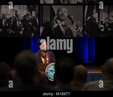 Deputy Secretary of Defense Patrick M. Shanahan and U.S. Army Maj. Gen. (Ret.) Marcia M. Anderson speak at the Department - Stock Photo