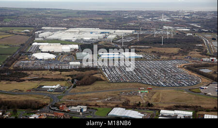 Aerial View Of The Nissan Car Plant Factory At Washington
