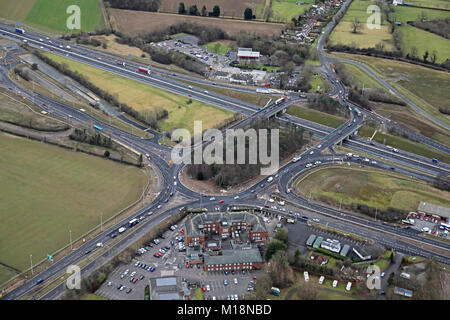 aerial view of Scotch Corner on the A1(M) motorway North Yorkshire, UK - Stock Photo