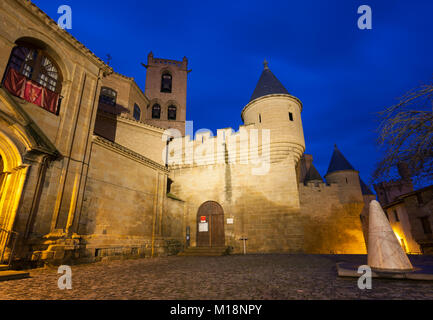Palace of the Kings of Navarre, Olite castle, Navarre, Spain - Stock Photo