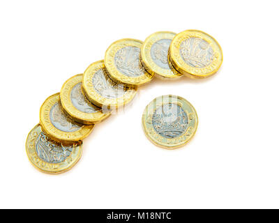 British new 12 sided one pound coins £ GBP pounds cash Sterling money UK Britain. Cutout and isolated on a white - Stock Photo