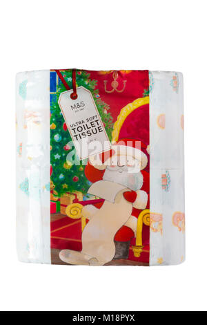 Pack of M&S ultra soft toilet tissue festive design isolated on white background - ideal for Christmas - Stock Photo