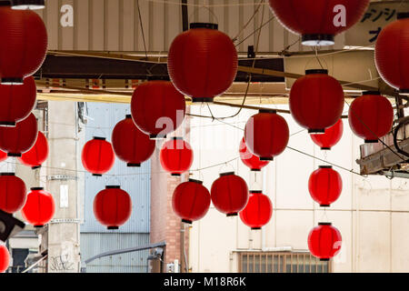(27 January 2018, Osaka, Japan) Red Lantern(s)  in Janjan Yokocho (a local commercial street) in Shinsekai district, - Stock Photo