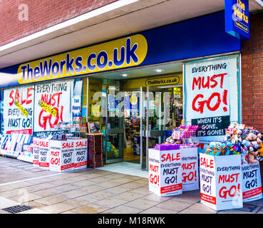 The Works (theworks.co.uk) outlet / shop / store, with an 'Everything must go' sale in Peterborough city centre, - Stock Photo