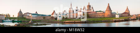 View on Solovetsky Monastery from the Bay of well-being on sunset, Russia. - Stock Photo