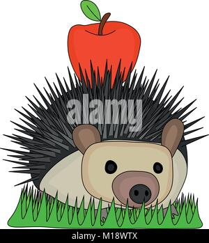 Vector Illustration Cute Hedgehog carry small red apple on the back and passing through the grass - Stock Photo