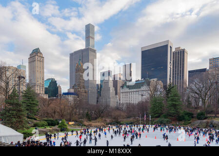 The Wollman ice skating rink located in Central Park Manhattan New York City in winter circa January 2018 - Stock Photo