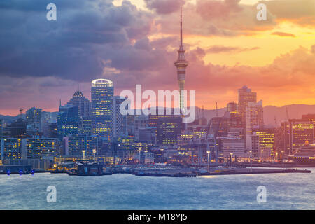 Auckland. Cityscape image of Auckland skyline, New Zealand during sunset. - Stock Photo