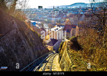 Graz cityscape view from Schlossberg hill funicular, Styria region of Austria - Stock Photo