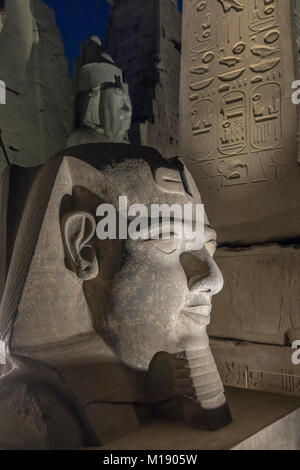Head of Ramses II at the Pylon of Luxor Temple, Luxor, Egypt - Stock Photo