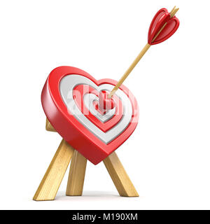Arrow on archery red heart shape target board bullseye isolated on heart shaped target with the arrow in the center 3d render illustration isolated on white background altavistaventures Images