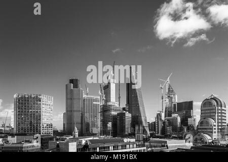 Iconic skyscrapers in the City of London: Cheesegrater, Tower 42, 20 Gracechurch Street and under construction the - Stock Photo