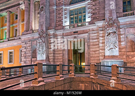 SAINT - PETERSBURG, RUSSIA - JANUARY 2, 2018: Night view of the facade decoration of Saint Michael Castle (Mikhailovsky, - Stock Photo