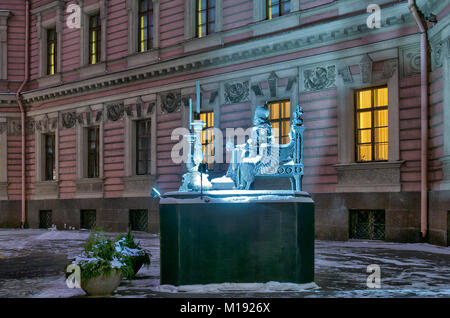SAINT - PETERSBURG, RUSSIA - JANUARY 24, 2018: The sculpture of Russian Emperor Paul I in the yard of Saint Michael - Stock Photo