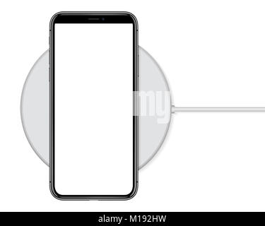 mock up phone charging on wireless charge - Stock Photo