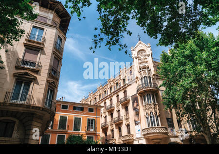 Palma de Mallorca, Spain - May 27, 2016: Modern Mediterranean architecture in Palma, Balearic islands, Spain - Stock Photo