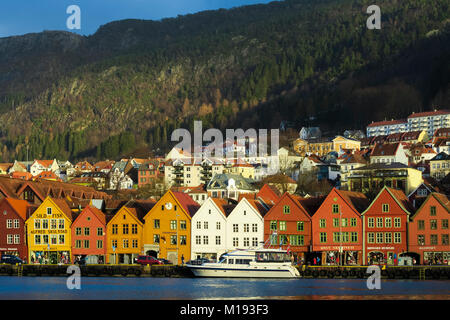 Historic Hanseatic wooden waterfront commercial buildings of the World Heritage listed Bryggen (the dock) on Vagen - Stock Photo