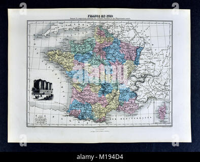 1877 Migeon Map - France  in 1789 - French Revolution - Bastille Paris - Stock Photo