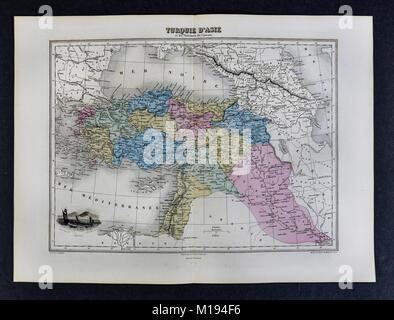 1877 Migeon Map -Turkey - Asia Minor Middle East Iraq Syria Palestine - Stock Photo