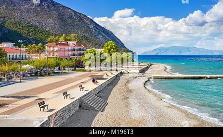Seaside promenade, Poros town, Kefalonia Island, Greece - Stock Photo