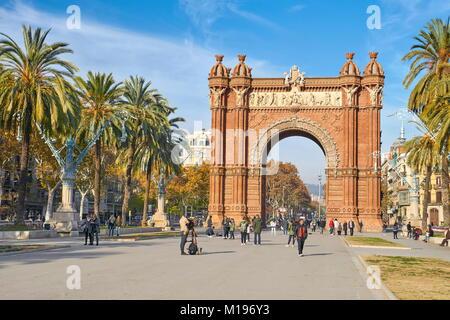 Arc de Triomf or Arco de Triunfo, Barcelona, Catalonia, Spain - Stock Photo