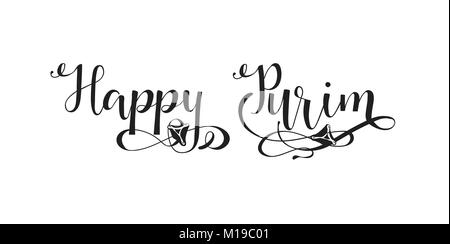 Modern design template with hand lettering. Vector illustration of a jewish holiday Purim with traditional hamantaschen - Stock Photo