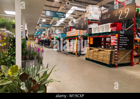 General interior view inside a new UK Bunnings Warehouse DIY super store and trade / domestic home improvement shop - Stock Photo