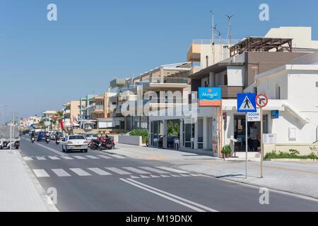 Beach promenade Ari Velouchioti, Rethymnon (Rethimno), Rethimno Region, Crete (Kriti), Greece - Stock Photo