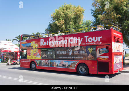 Open-top Rethymno City Tour bus, Sofokli Venizelou, Rethymnon (Rethymno), Rethymno Region, Crete (Kriti), Greece - Stock Photo