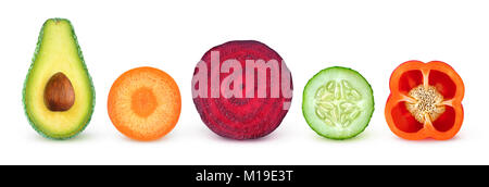Isolated vegetable slices. Fresh vegetables cut in half (avocado, carrot, beetroot, cucumber, bell pepper) in a - Stock Photo