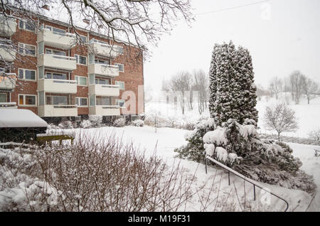 Residential area at Frydens gate under heavy snow storm in winter day in Oslo, Norway. - Stock Photo