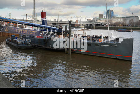 Former Humber ferry The Pub on the Thames, PS Tattershall Castle, London - Stock Photo