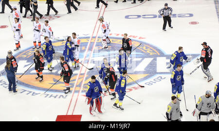 Tampa, Florida, USA. 28th Jan, 2018. DOUGLAS R. CLIFFORD | Times.Players from all four NHL All-Star teams greet - Stock Photo