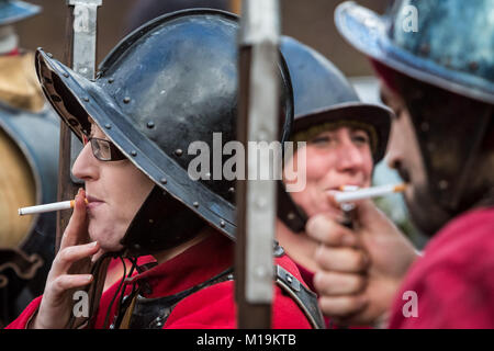London, UK. 28th January 2018. The King's Army annual march and parade commemorating the execution of King Charles - Stock Photo