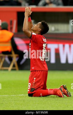 Leverkusen, Germany. 28th Jan, 2018. Wendell of Bayer Leverkusen celebrates scoring during the German Bundesliga - Stock Photo