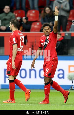Leverkusen, Germany. 28th Jan, 2018. Leon Bailey (R) of Bayer Leverkusen celebrates scoring during the German Bundesliga - Stock Photo