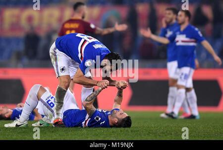 Rome, Italy. 28th Jan, 2018. Sampdoria's Nicola Murru (Bottom) celebrates with teammates after winning the Serie - Stock Photo