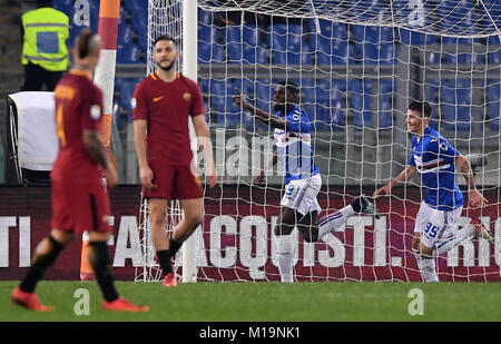 Rome, Italy. 28th Jan, 2018. Sampdoria's Duvan Zapata (2nd R) celebrates scoring during the Serie A soccer match - Stock Photo