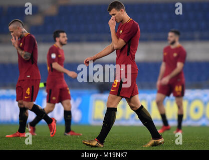 Rome, Italy. 28th Jan, 2018. Roma's Edin Dzeko (2nd R) looks dejected after the Serie A soccer match between Roma - Stock Photo