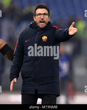 Rome, Italy. 28th Jan, 2018. Roma's head coach Eusebio Di Francesco gestures during the Serie A soccer match between - Stock Photo