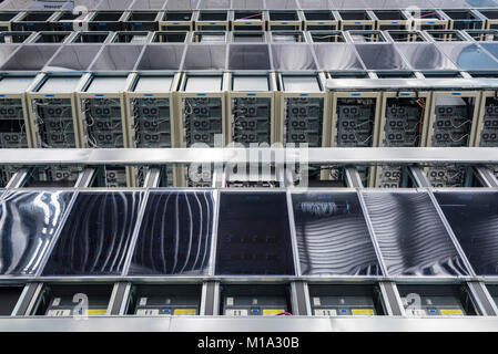 Geneva, Switzerland - 26 Jan 2018: Servers at the data centre of the European Organization for Nuclear Research - Stock Photo