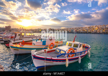 The pictursque port of Sitia, Crete, Greece at sunset. Sitia is a traditional town at the east Crete near the beach - Stock Photo