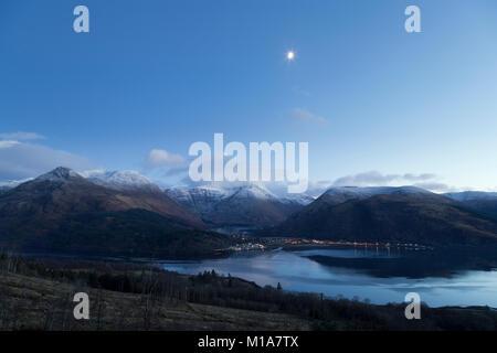 Loch Leven and Glencoe at dusk, Highland Scotland - Stock Photo