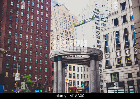 NEW YORK, NY - June 9th, 2014: detail of Lexington avenue and the 135 East 57th Street tempietto - Stock Photo