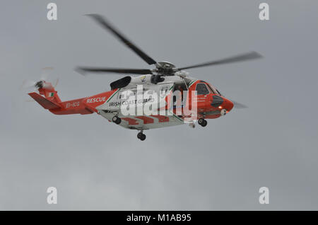 Portrush, Co.Antrim, Northern Ireland. August 31st 2013 :- Irish Coast Guard Sikorsky S-92A in Flying Display at - Stock Photo