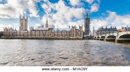 The Palace of Westminster (UK Parliament) with scaffolding undergoing renovation works in January 2018 - Stock Photo
