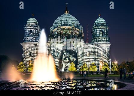 BERLIN, GERMANY - OCTOBER 12: Berliner Dome illuminated during FESTIVAL OF LIGHTS on October 12, 2013  in Berlin, - Stock Photo