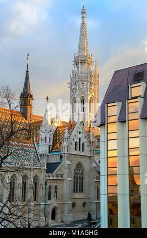 Matthias church in Buda Castle district, Budapest, Hungary early morning - Stock Photo